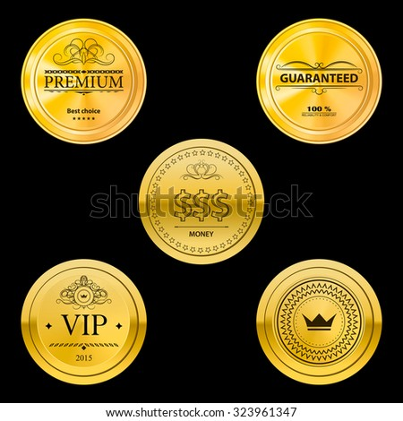 Collection gold labels for promo seals quality stickers round vector objects on the black