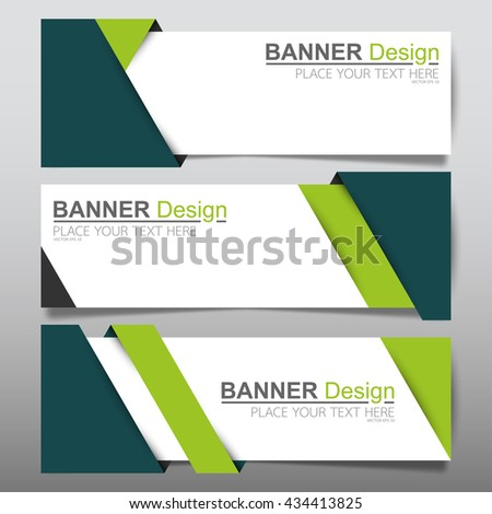 Collection green fold horizontal business banner set vector templates. clean modern geometric abstract background layout for website design. simple creative cover header. in rectangle size - stock vector