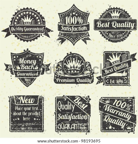 Collection Grunge Best Quality and Guarantee Labels, vintage design, vector illustration - stock vector