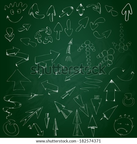 Collection hand drawn arrows on the blackboard