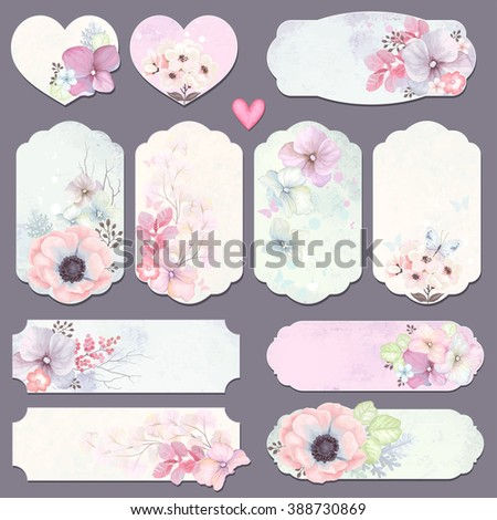 Collection holidays labels with design elements, butterfly and flowers, vector illustration in vintage style on watercolor background. - stock vector