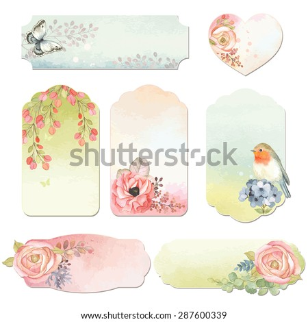 Collection holidays labels with watercolor design elements, butterfly, bird Robin and flowers, vector illustration in vintage style. - stock vector