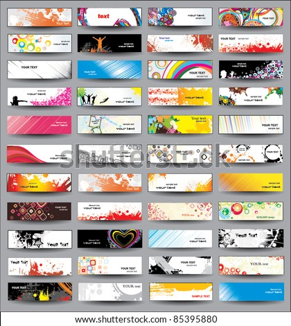 Collection Horizontal Headers on different topics - stock vector