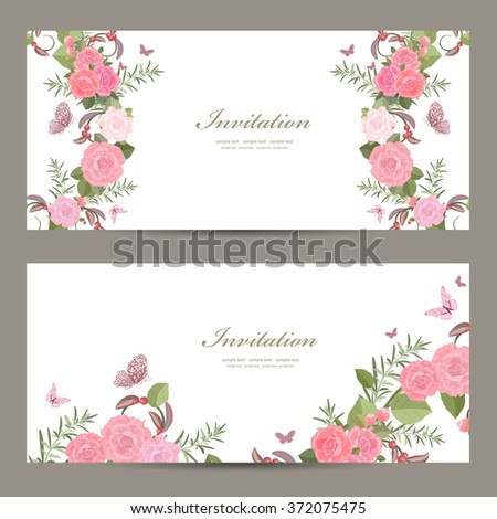 collection invitation cards with blossom of roses for your design