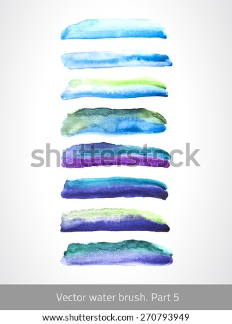Collection liquid brush. Vector design elements. Set colorful stroke. Handmade blot. Texture lines.  Decorative watercolor stroke.