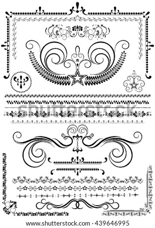 Collection luxury borders and ornaments on white background  - stock vector