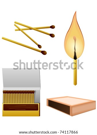 collection match stick - stock vector