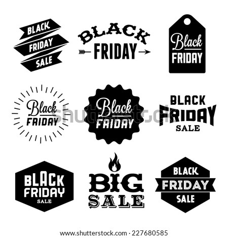 collection monochrome black friday label, badge for your business  with arrow, fire, ribbon, starburst - stock vector