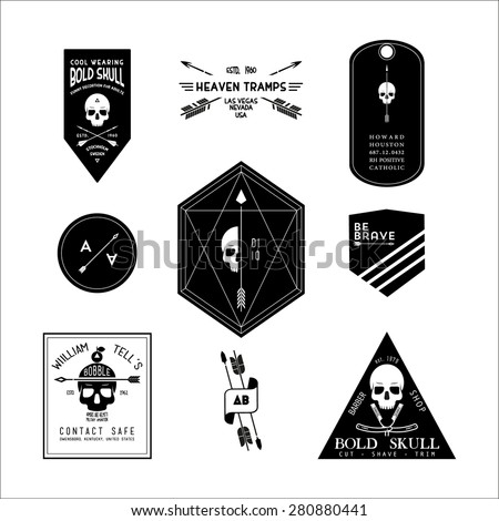 collection monochrome hipster vintage label, logotype, badge and poster for your business or t-shirt print with arrow and skull - stock vector