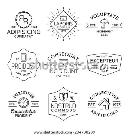 collection monochrome hipster vintage label, logotype, badge for your business or t-shirt print with portfolio, umbrella, mobile phone,monitor, compass, clock, shield; house, ribbon, starburst - stock vector
