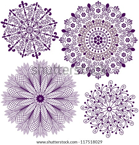 Collection new christmas dark violet snowflakes  isolated on white (vector) - stock vector