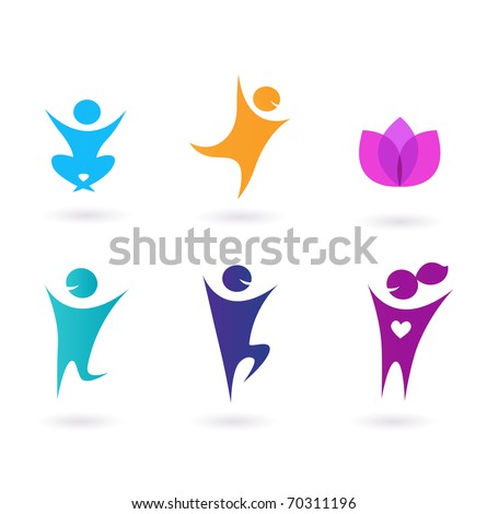 Collection o human icons - yoga and sport. Set of yoga icons. - stock vector