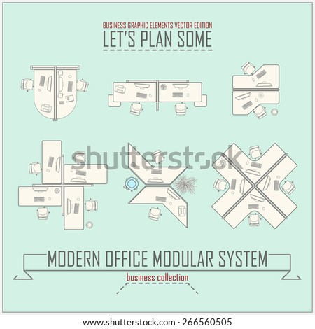 collection of a few modern office modules - stock vector