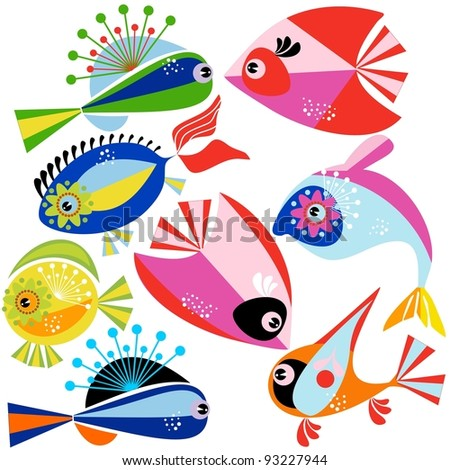Collection of a  fish on a white background. - stock vector