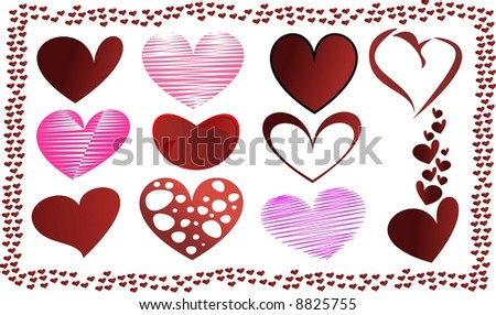 Collection of a heart shapes - stock vector