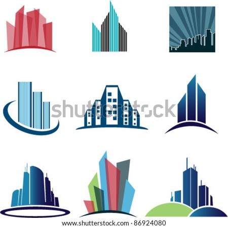 Collection Of Abstract architecture Vector Symbols Isolated On White Background. Graphic Design Editable For Your Design. - stock vector
