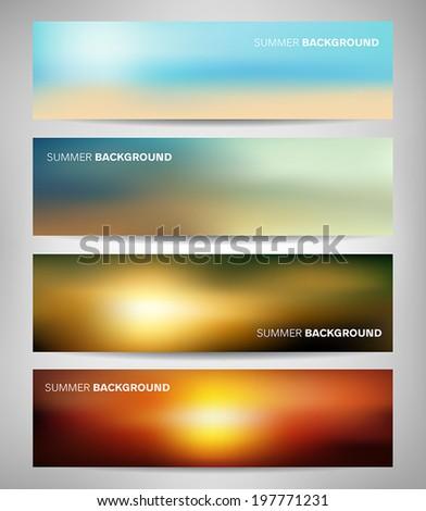 Collection of abstract blurred banners with sea and summer colors. - stock vector