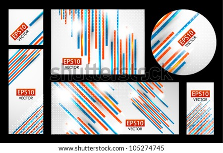 Collection of abstract business banners with color straight lines - stock vector