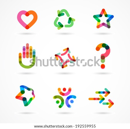 Collection of abstract colorful business icons and elements - stock vector