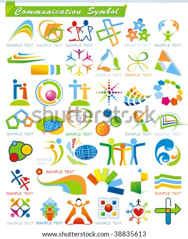 Collection 4 Abstract Communication Symbols Vector Business Stock