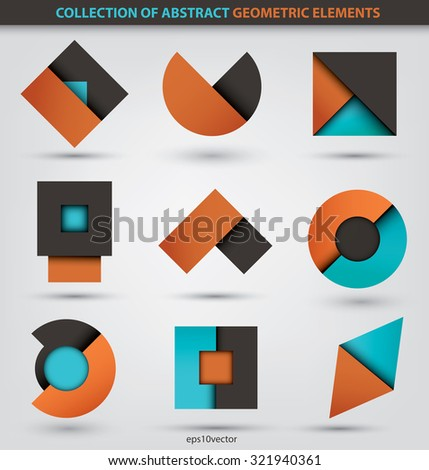 Collection of abstract geometric icons based in circles, squares and triangles - stock vector