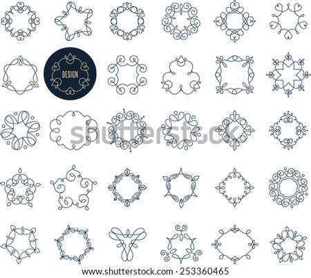 Collection of abstract geometrical icons, signs, elements, badges and frames - stock vector