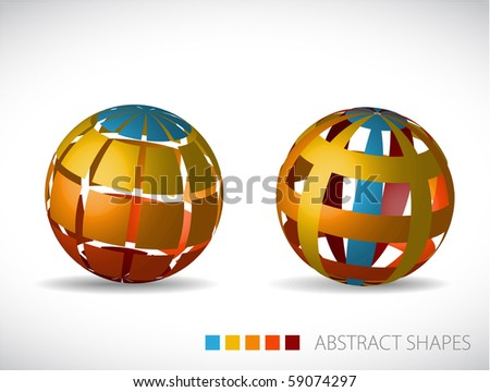 Collection of abstract spheres made from colorful stripes and squares - stock vector