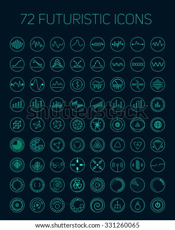 Collection of abstract vector futuristic icons. Use it as indicator elements in your design. - stock vector