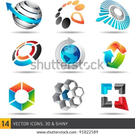 Collection Of Abstract Vector Symbols Isolated On White Background. Graphic Design Editable For Your Design. - stock vector