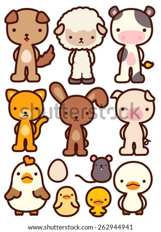 Collection of Adorable Pet Character - Vector file EPS10 - stock vector
