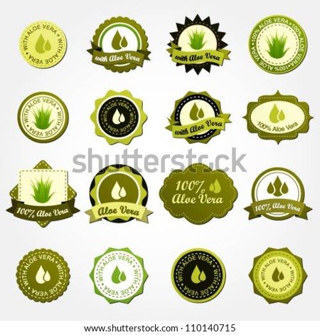 Collection of aloe vera labels - stock vector