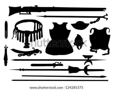 Collection of ancient arms - stock vector