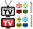 Collection of as seen on TV icon with television aerial - stock photo