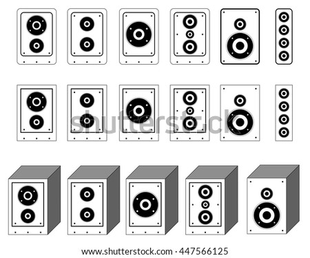 collection of audio speaker vector. surround system symbol. loudspeaker icons. outlines Woofer.