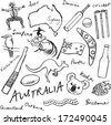 Collection of Australia doodle vector illustrations - stock photo