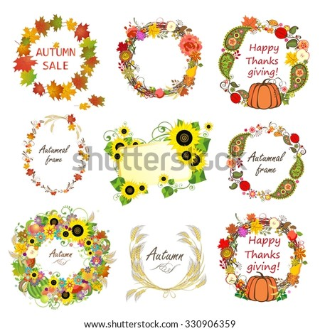 Collection of autumn frames - stock vector