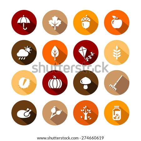 Collection of Autumn Icons - autumn symbols and activities. - stock vector