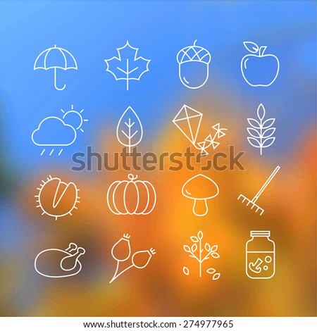 Collection of autumn icons - autumn symbols and activities. Thin lines style. - stock vector