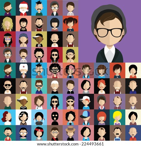Collection of avatars24  ( 65 Man and woman Characters ) - stock vector