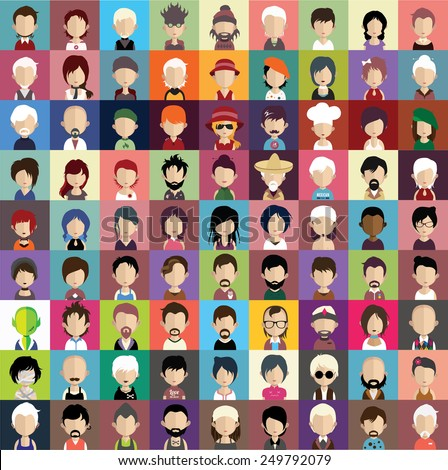Collection of avatars8 ( 81 Man and woman Characters ) - stock vector