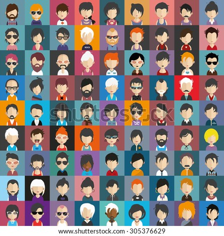 Collection of avatars20 ( 81 Man and woman Characters ) - stock vector