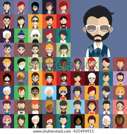 Collection of avatars31 ( 65 Man and woman Characters ) - stock vector