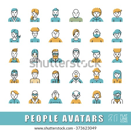 Collection of avatars related to various types of  people. Flat line set of people faces avatars. Vector illustration.