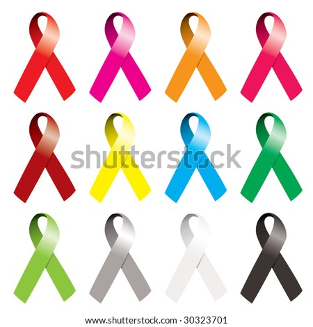 Collection of awareness ribbons in many various colors with curl - stock vector