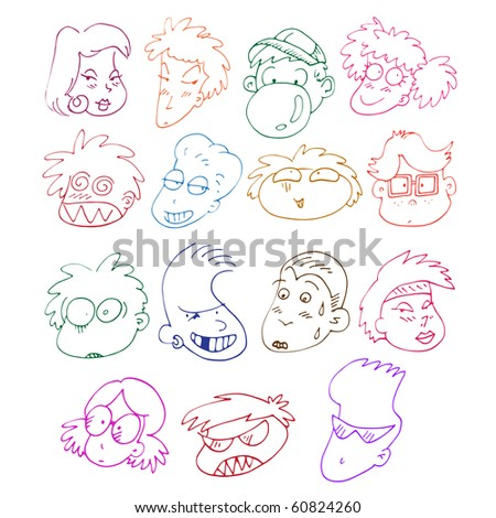 collection of awesome comics characters - stock vector