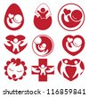 Collection of baby and family icons - stock vector