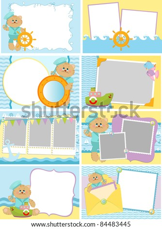 Collection of baby's postcards or photo frames with sea theme