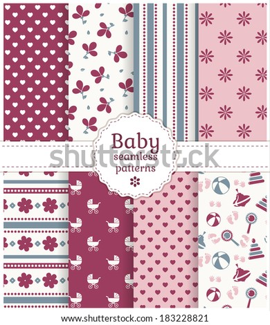 Collection of baby seamless patterns in white, purple, pink and gray colors. Vector illustration. - stock vector