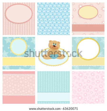 Collection of backgrounds for postcard, greetings card or scrapbook (EPS10) - stock vector