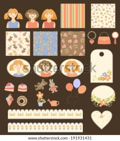collection of backgrounds, tags and stickers for girls - stock vector